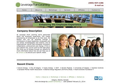 screen capture of the Leverage Point Learning website designed by Sheldon Ball of LeadOn Consulting