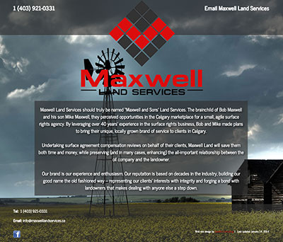 screen capture of the Maxwell Land Services website landing page designed by Sheldon Ball of LeadOn Consulting